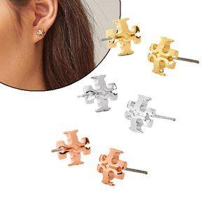 Tory Burch 3D Curved Logo Stud Earrings